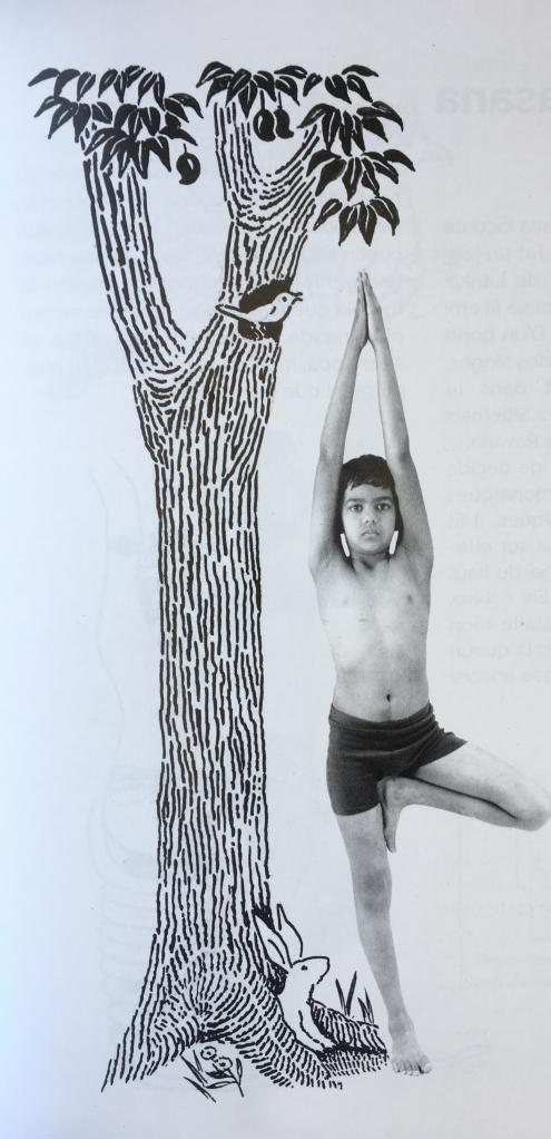 Yoga enfant. Posture de l'arbre.